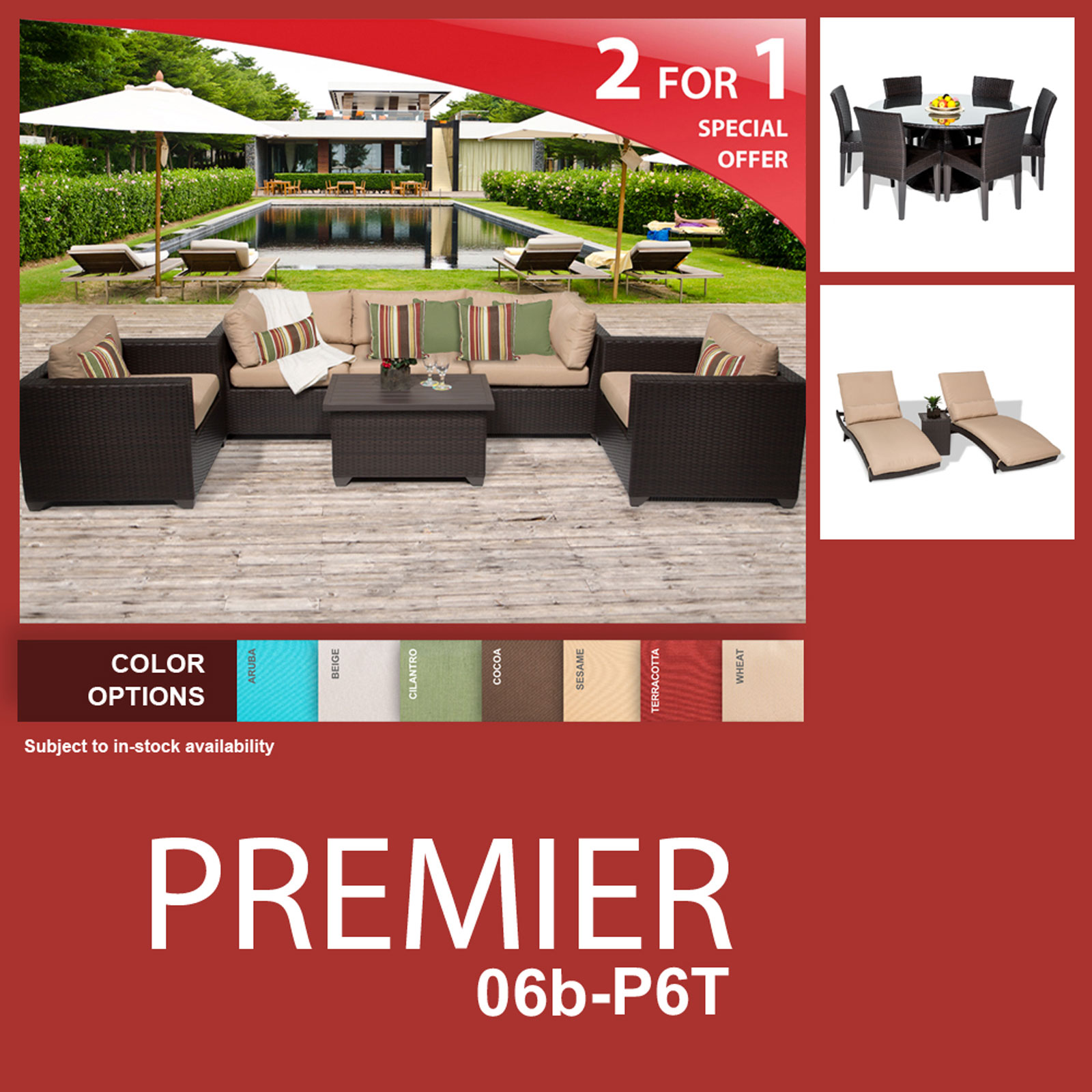 Premier 16 Piece Outdoor Wicker Patio Furniture Package PREMIER-06b-P6T