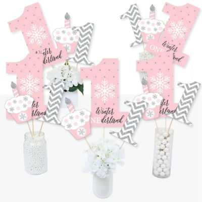 Winter Themed Centerpiece Ideas (Pink ONEderland - Snowflake Winter Wonderland First Birthday Party Centerpiece Sticks - Table Toppers - Set of)