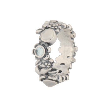eae780d13 PANDORA - Authentic Sterling Silver Nature's Serenity Ring - Blue Topaz &  Moonstone with - Walmart.com