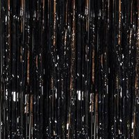 Black Foil Fringe Door Curtain, 3ft x 12ft