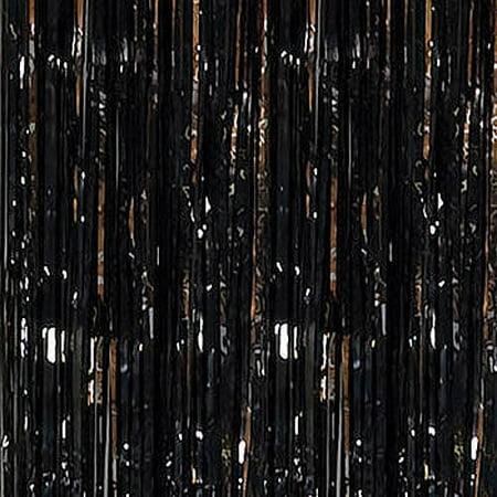 Black Foil Fringe Door Curtain, 3ft x 12ft](Door Fringe)