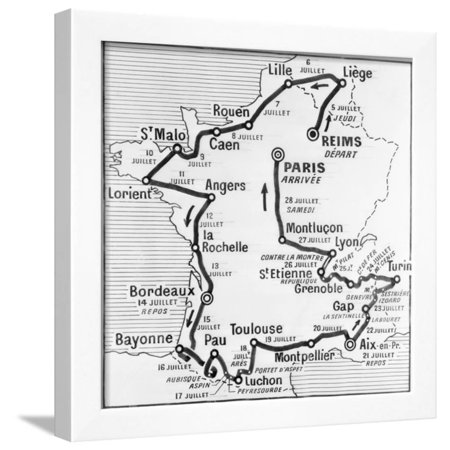 Tour De France Map - Map Showing Route of Tour De France Framed Print Wall Art