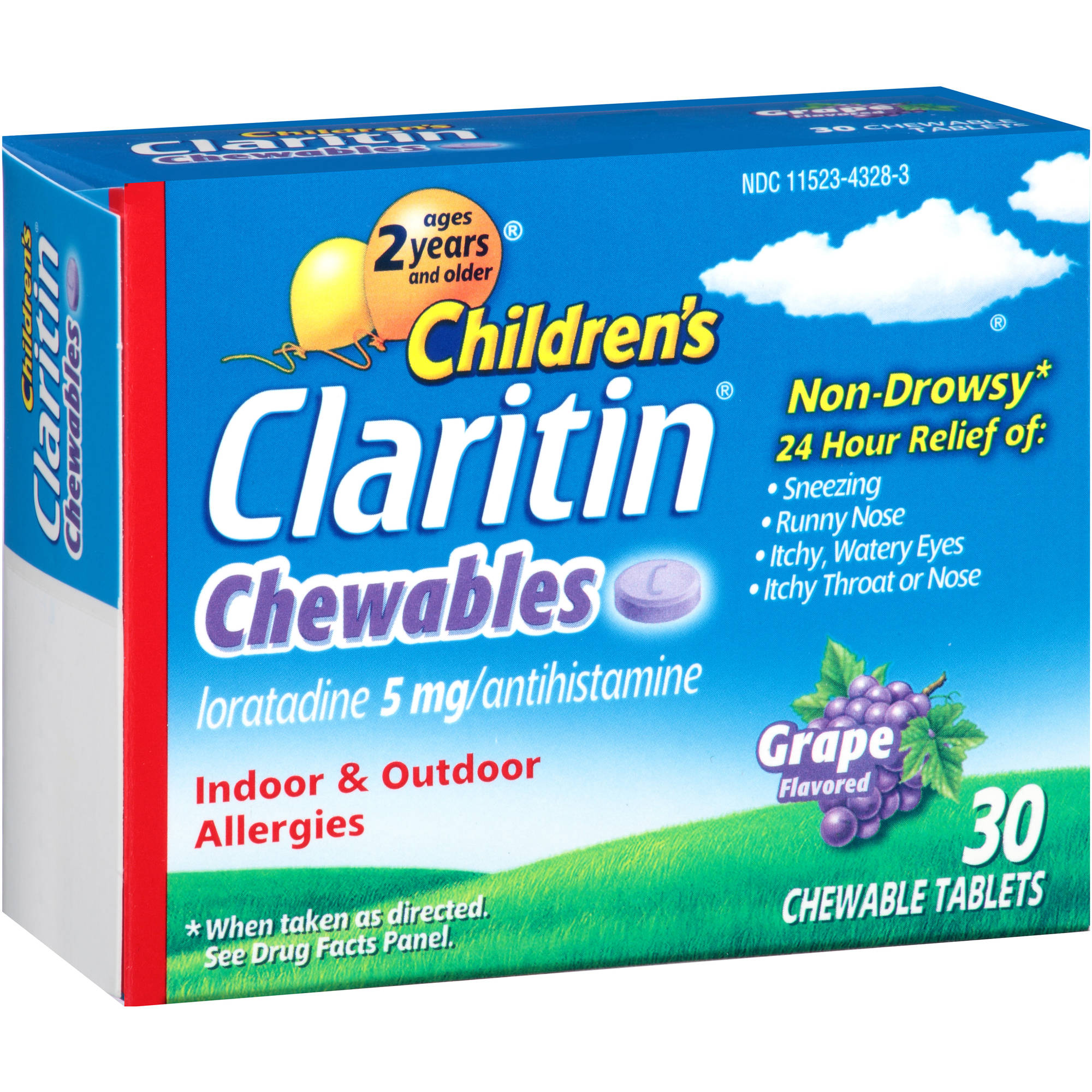 Children's Claritin Allergy Grape Flavored Chewable Tablets, 30 count