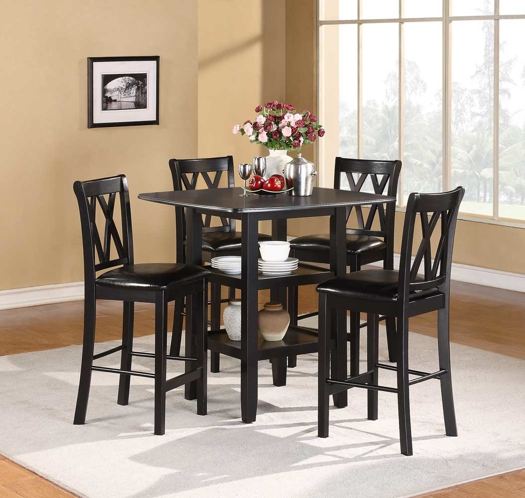 5 Piece Wooden CoUnter Height Dining Set, Black
