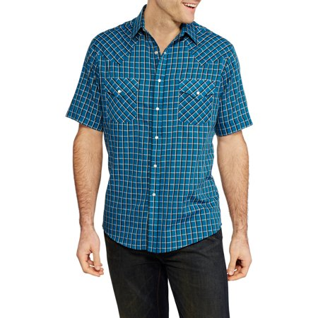 Plains Mens Short Sleeve Western Shirt Textured Dobby Check