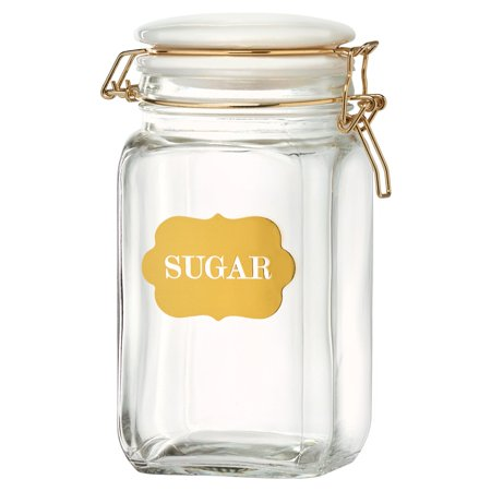 Glass Storage Canister - Sunrise Glass Hermetic Preserving Canisters, Sugar, 54 oz