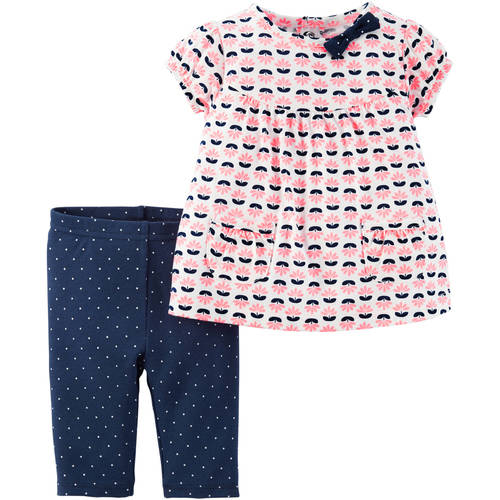 Child of Mine by Carter's Newborn Baby Girl Short Sleeve Shirt and Pant Outfit Set