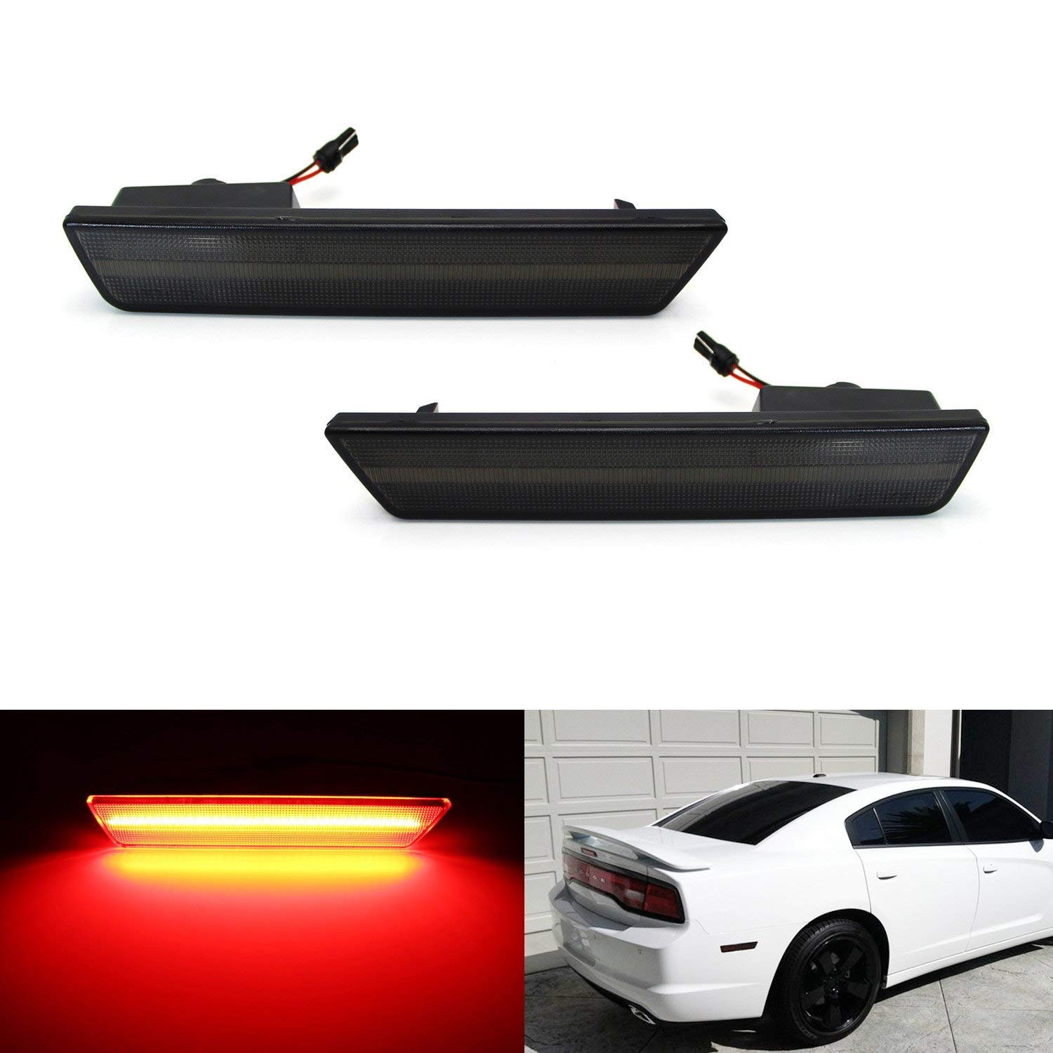 iJDMTOY (2) Smoked Lens Rear Side Marker Lamps with 36-SMD Red LED Lights For 2008-2014 Dodge Challenger, 2011-2014 Dodge Charrger