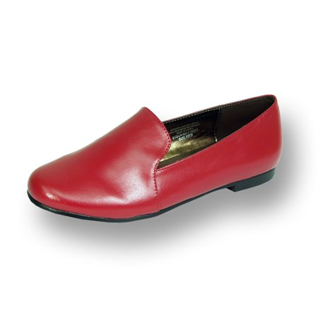Red Leather Flats (PEERAGE Charlie Women Wide Width Leather Flat for Everyday Wear RED 6 )