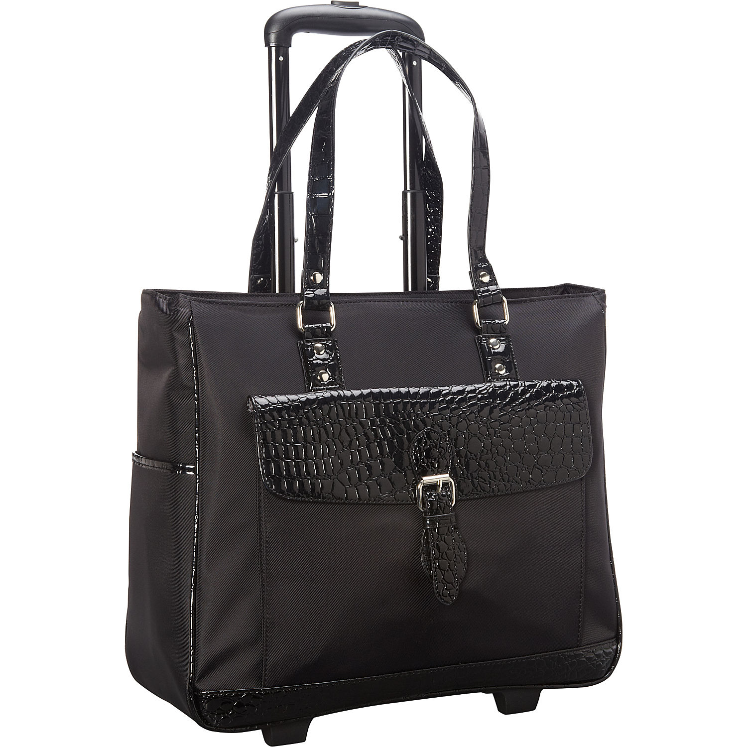 "Heritage ""Lake View"" Collection Nylon Twill With Croco Trim Wheeled 17.0"" Computer Tote by Heritage Travelware"