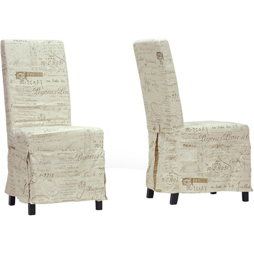 Baxton Studio Picard French Script Linen Modern Dining Chair, Set of 2, Beige