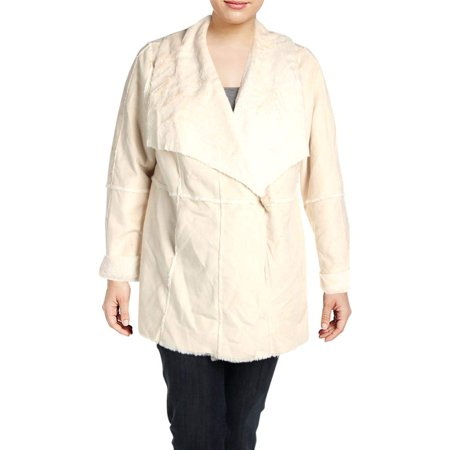 Washed Womens Plus Faux Suede Double Face Coat 2X