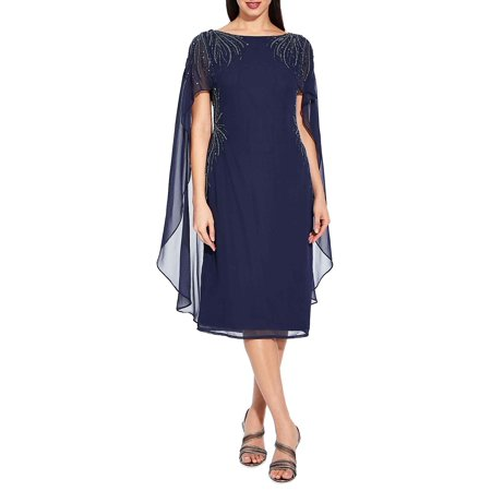 Mesh Cape-Sleeve Dress