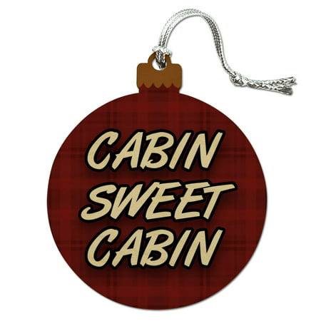 Cabin Sweet Cabin Red Plaid Wood Christmas Tree Holiday Ornament - Halloween Sweet Tree Ideas