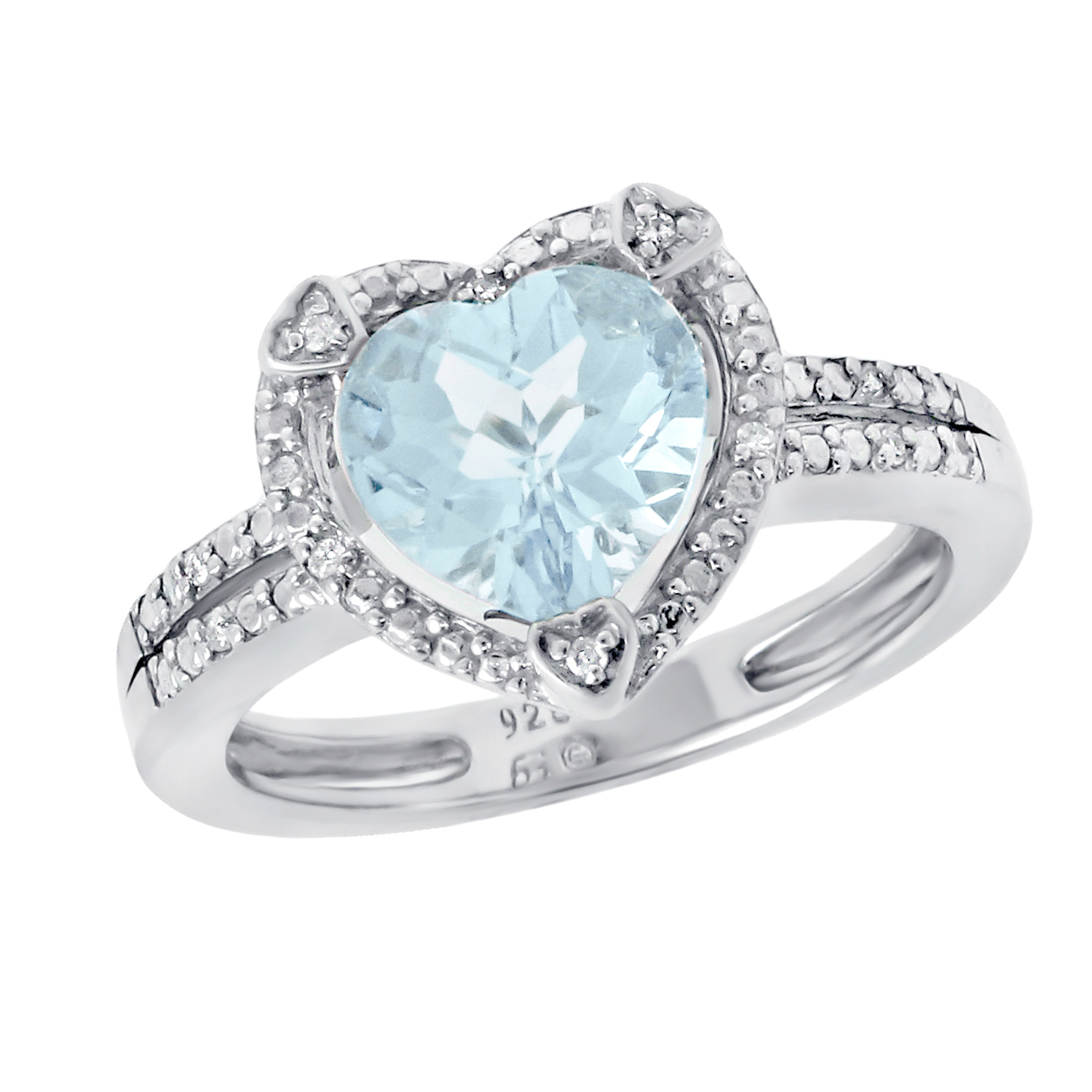 1.20 Ct Heart Sky Blue Aquamarine Diamond Accent 925 Sterling Silver Ring