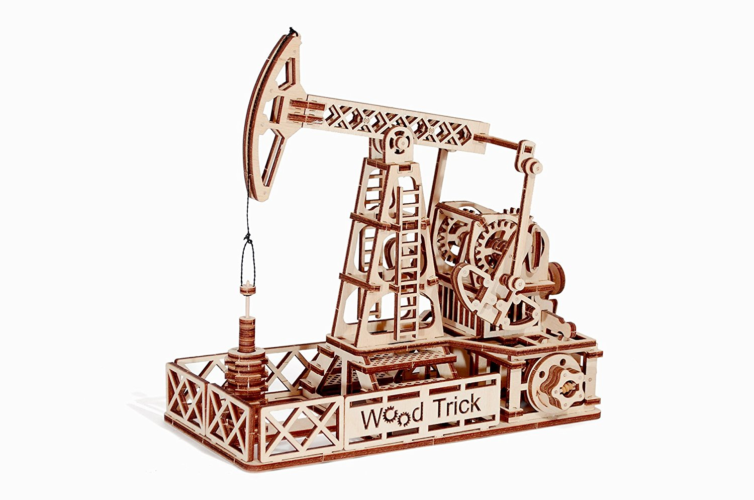 Wood Trick 3D Mechanical Model OIL DERRICK Wooden Puzzle, Assembly Constructor, Brain Teaser, Best DIY Toy, IQ... by woodtrick