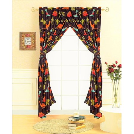 Decotex 4 Piece Brown Dinosaur Jurassic Kids Window