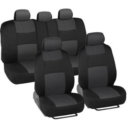 BDK PolyCloth Car Seat Covers with Floor Mats and Steering Wheel Cover Full Set (60 40 Car Seat Covers)
