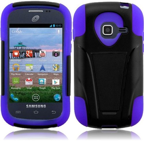 Dual Hybrid T-Stand Case for Samsung Galaxy Centura S738C - Purple/Black