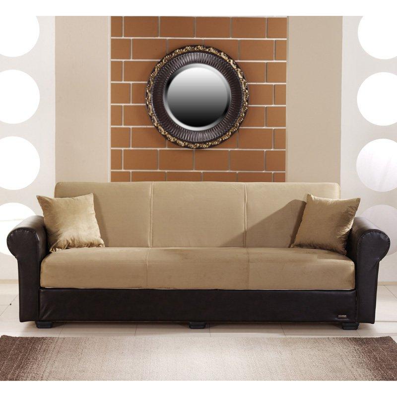 Istikbal Enea Rainbow Dark Beige Microfiber Convertible Sofa