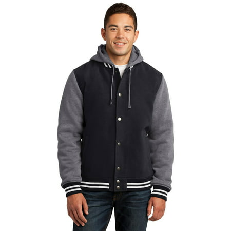 Sport-Tek JST82 Mens Insulated Letterman Jacket - Black/ Vintage Heather - XS - Letter Man Jacket