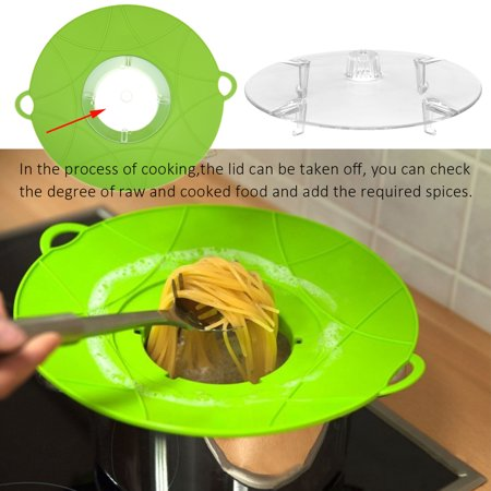 Silicone Spill Stopper Lid Pan Pot Cover Overflows Boil Kitchen Cooking Gadgets Green