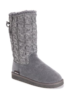 Muk Luks Women's Skylar Faux Fur Lined Cable Knit Sweater Boot
