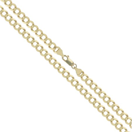 10k Yellow Gold Solid Curb Chain 2.5mm Link Necklace 24""