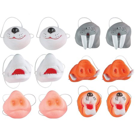 Vinyl Animal Nose Masks With Elastic Band - Pack Of 12 - 2.75