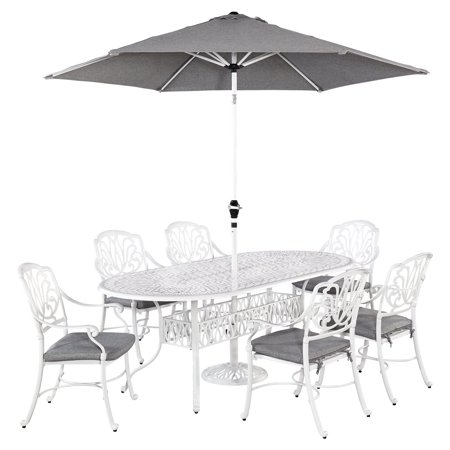 Home Styles Floral Blossom White 7pc Outdoor Dining Set with Oval Table, 6 Arm Chairs and