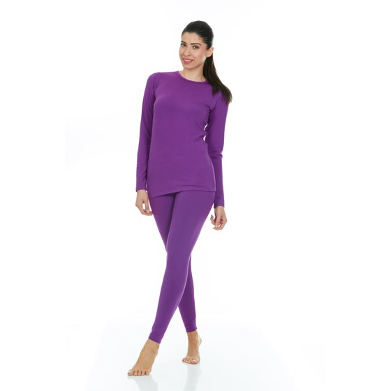 0a0ef2b14bce36 Colors Available: Black, Grey, White, Pink, Purple & Red Thermajane Women's  Ultra Soft Thermal Underwear Long Johns Set With Fleece Lined (X-Small,  Purple)