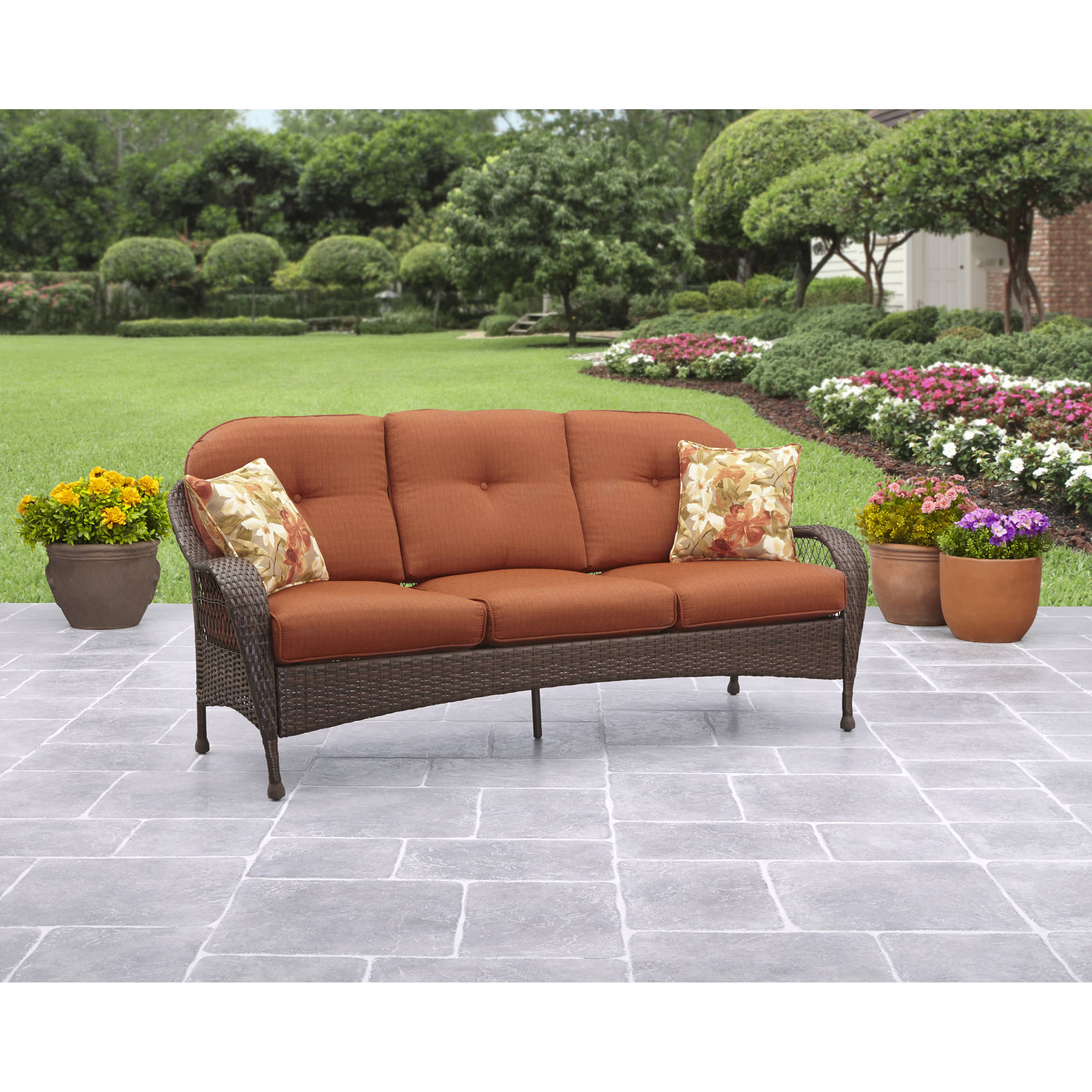 Great Better Homes And Gardens Cadence Wicker 3 Piece Outdoor Sectional Sofa Set,  Tan, Seats 5   Walmart.com Part 24