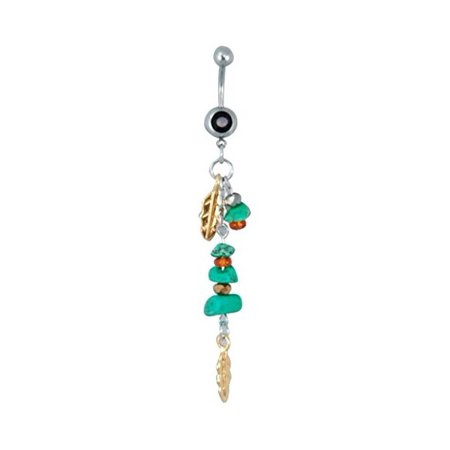 Hypoallergenic Surgical Steel Feather Stones Belly Ring