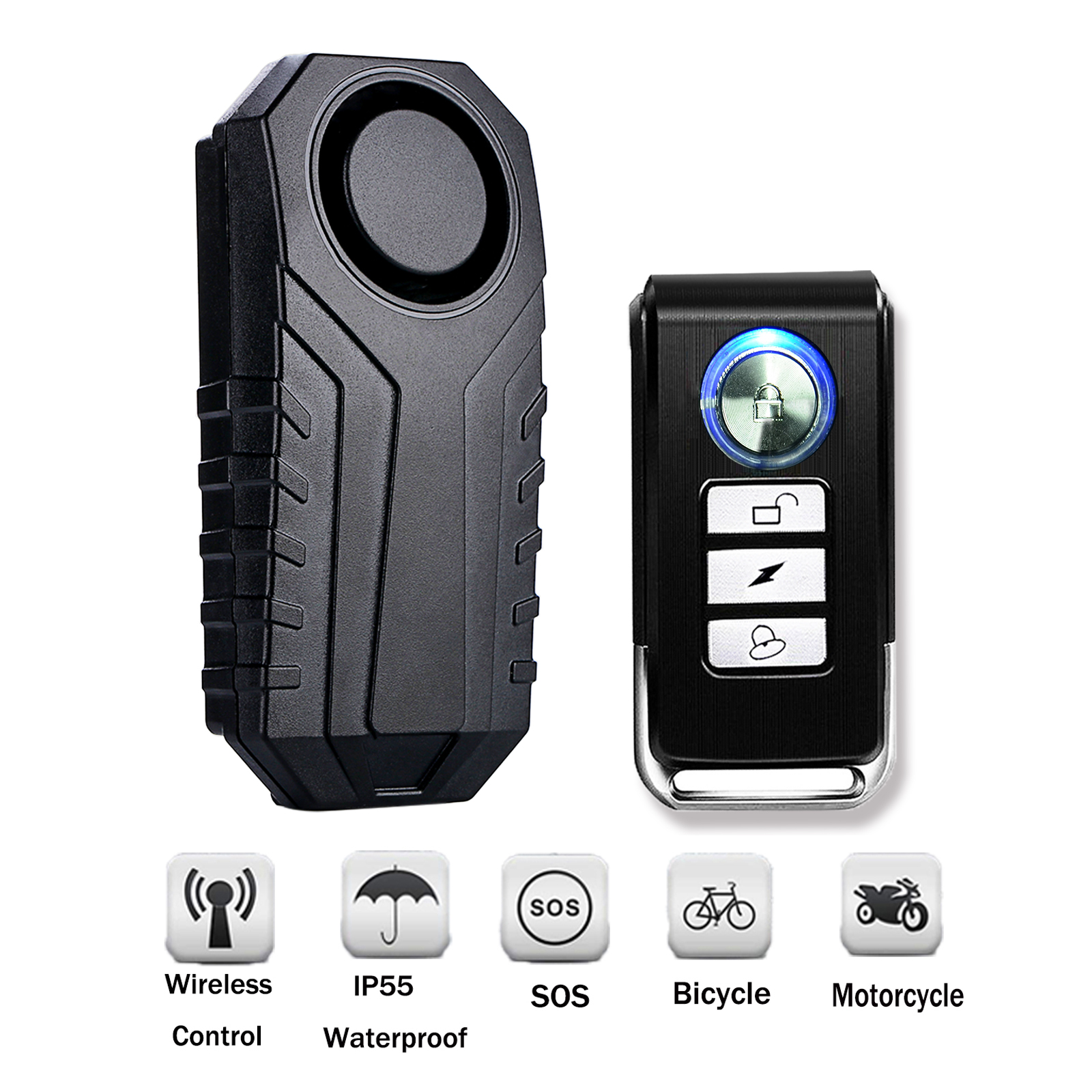 Wireless Anti-Theft Vibration Motorcycle Bicycle Waterproof Security Bike Alarm