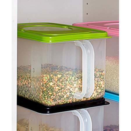 Glass Green Handled (Bulk Storage Handled Bins (Green), Perfect for rice, flour and other pantry staples By GetSet2Save From USA)