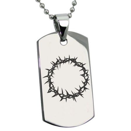 Stainless Steel Crown of Thorns Engraved Dog Tag Pendant
