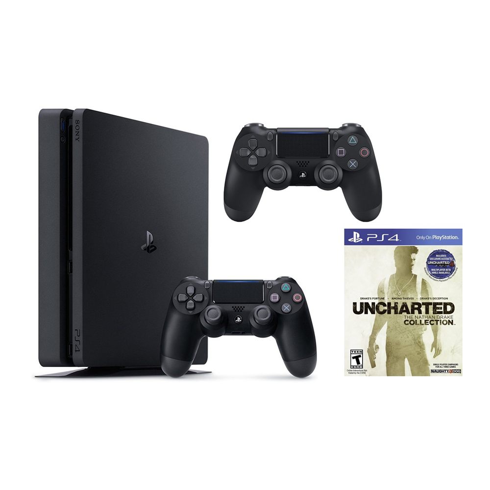 Image of Sony PlayStation 4 Slim, 1TB Gaming Console with 2nd Controller, and with Uncharted: The Nathan Drake Collection