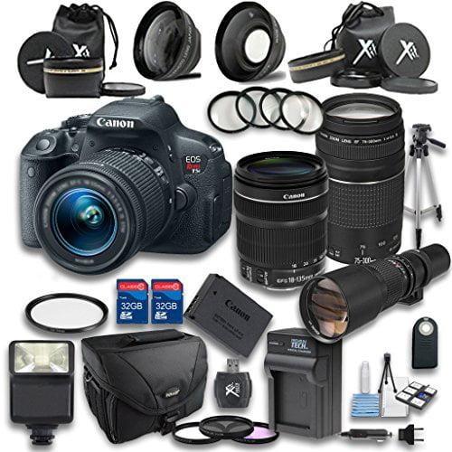 Canon T5i DSLR Camera +18-135mm IS STM Lens +EF 75-300mm ...