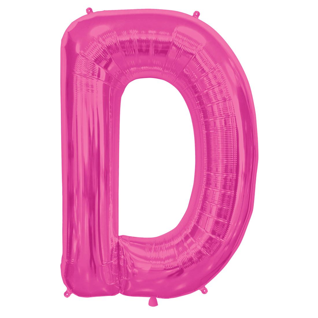 "Northstar Alphabet Letter D Shape Solid Jumbo Helium 34"" Foil Balloon, Magenta"