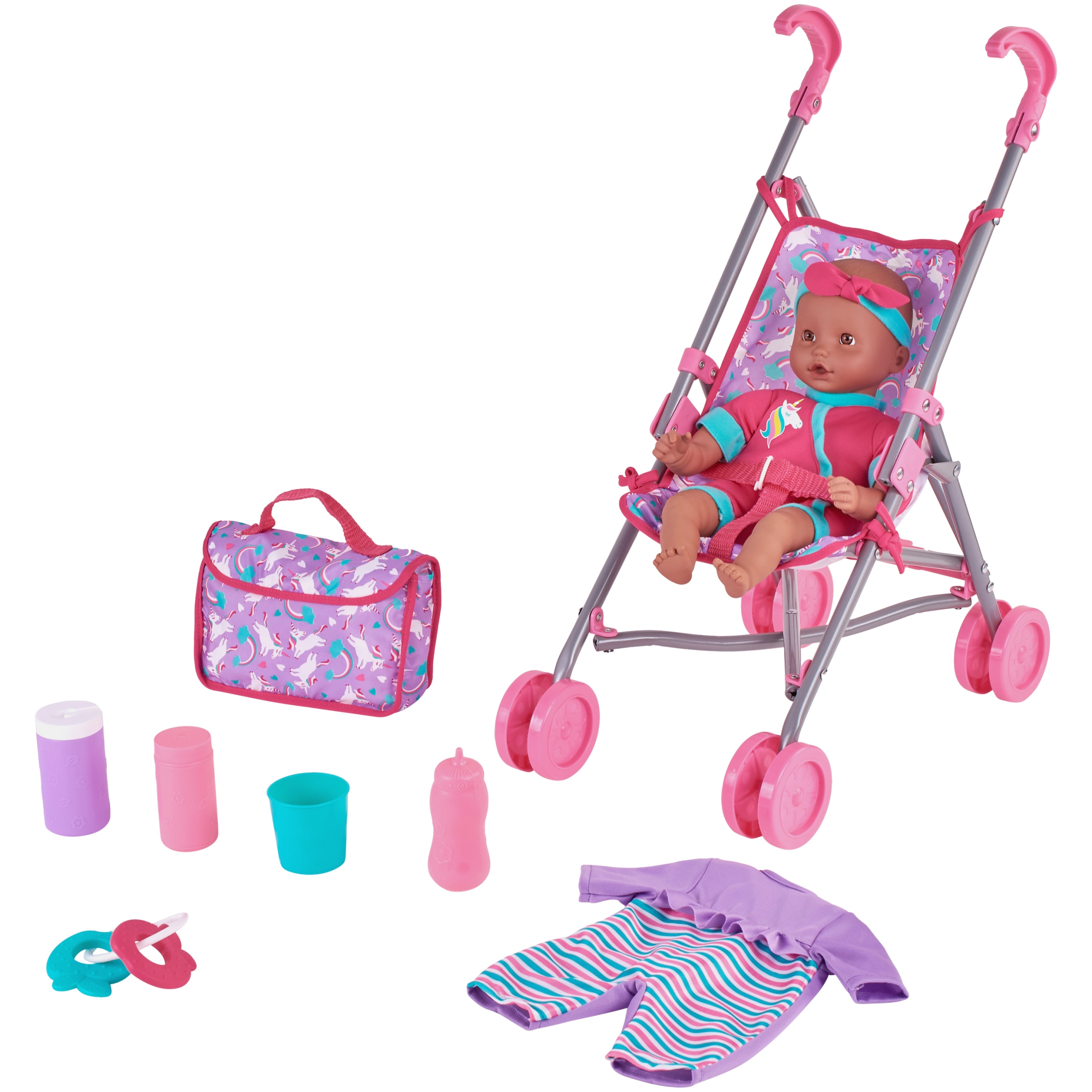 Kid Connection 9-Piece Baby Doll Stroller Set, Purple & Pink