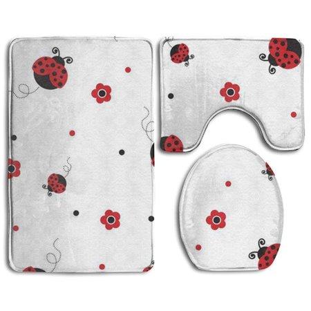 Pudmad Ladybug Style 3 Piece Bathroom Rugs Set Bath Rug