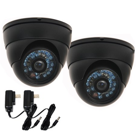 VideoSecu 2x Weatherproof Outdoor IR Night Vision Security Camera 1/3 inch CCD 480TVL 3.6mm Wide Angle Lens w/ 2 Power BDG