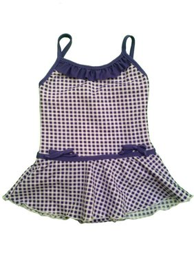 Baby Girls Lilac White Gingham Print Ruffle Accent One Piece Swimsuit 12Mo