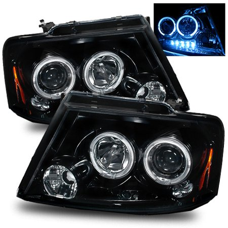 For 04 08 Ford F150 06 08 Lincoln Mark Lt Halo Projector Headlights Glossy Black