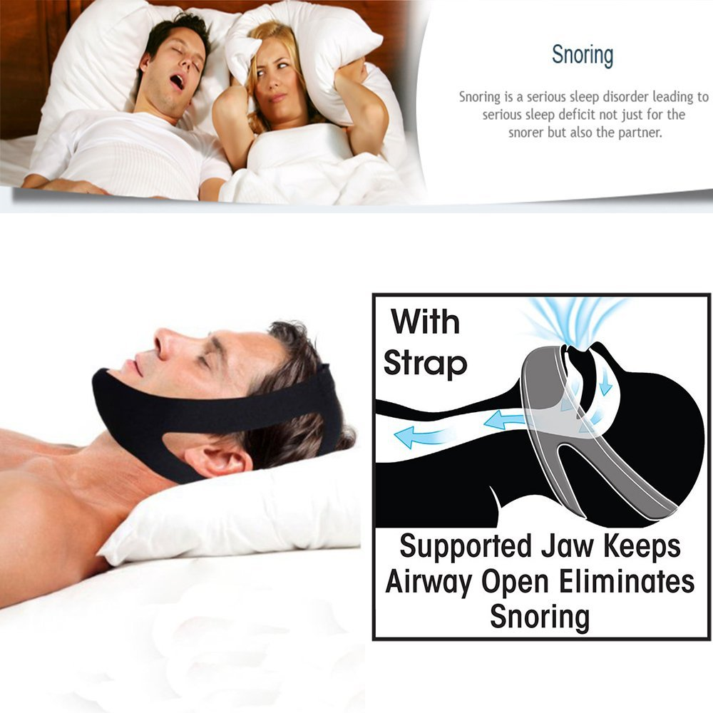 Anti-Snoring Chin Strap Jaw Support Belt Nights Stop Snoring CAPA Headband For Mouth Breather Professional Sleep Support Strap Belt Quieter Chin Strap for  CPAP Therapy