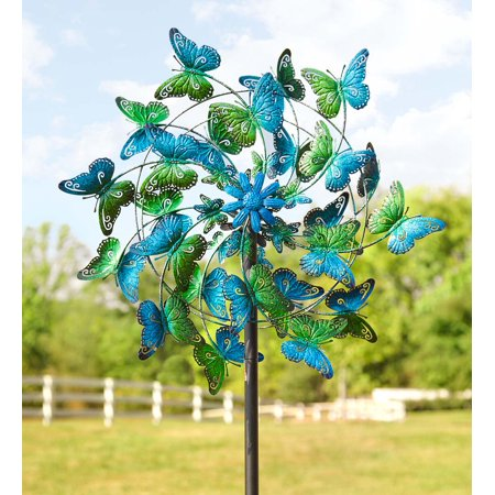 Butterfly Wind Spinner - Blue and Green Butterflies Metal Wind Spinner for Gardens