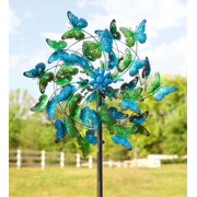 Blue and Green Butterflies Metal Wind Spinner for Gardens