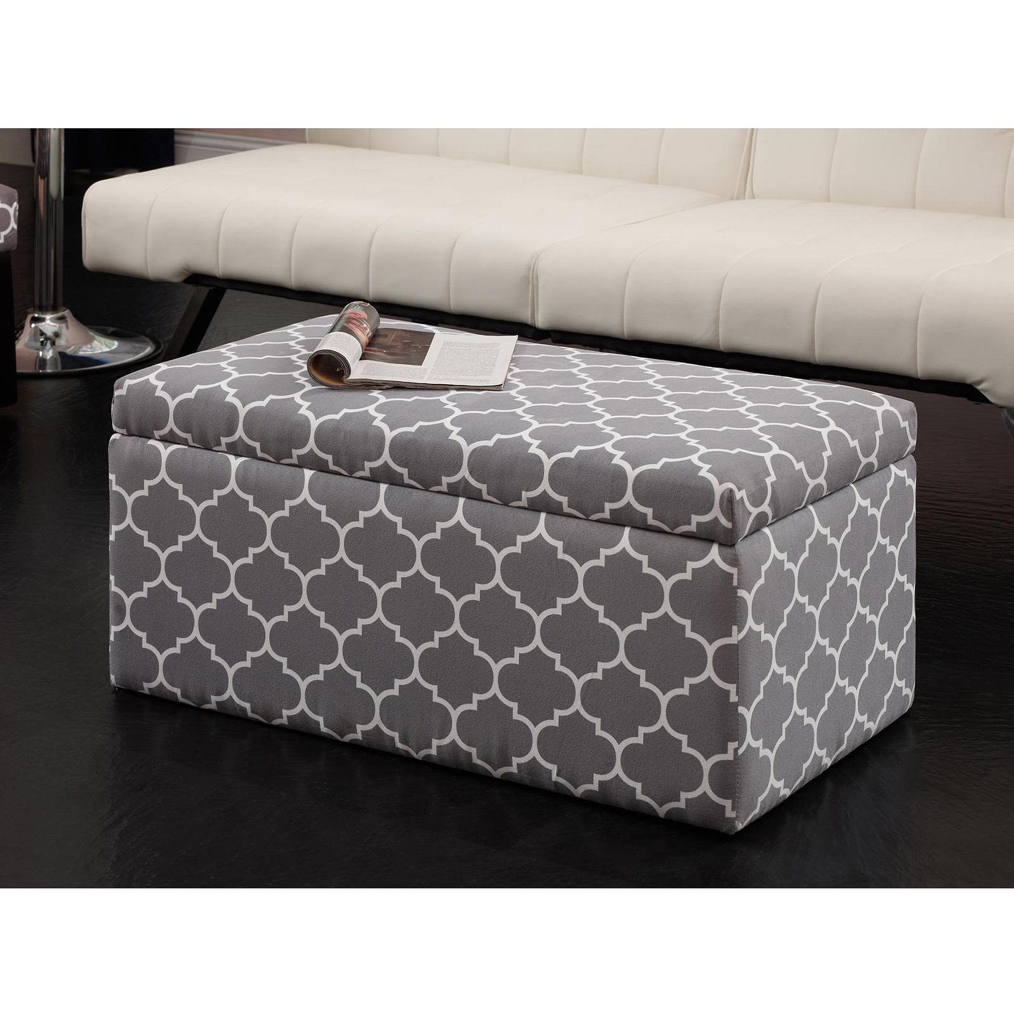 Ordinaire Emily Rectangular Storage Ottoman, Gray/