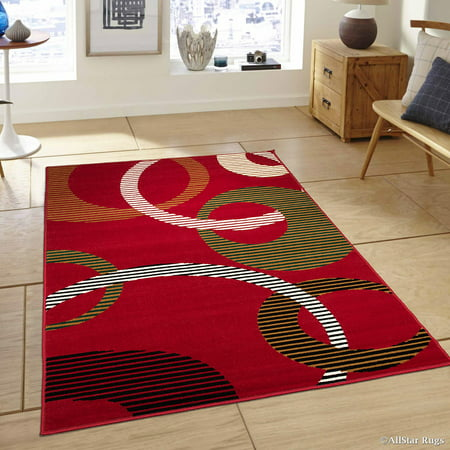 Allstar Red Area Rug Contemporary Abstract Traditional