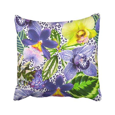 ARTJIA Bright Orchid Flowers With Green Exotic Leaves On The Leopard Skin Tropical Collage Pillowcase Pillow Cover 18x18 inches
